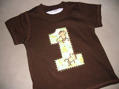 Infant/Toddler Boys First 1st Birthday Brown Monkey 1 Shirt