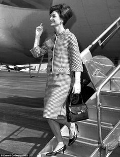 Leaming states that she believes Jackie Kennedy, pictured landing in New York in 1962, suffered from undiagnosed post-traumatic stress disorder (PTSD) after her husband's death