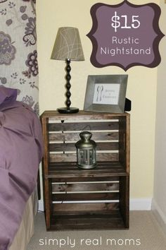 Check out how to build an easy rustic DIY nightstand from milk crates @istandarddesign