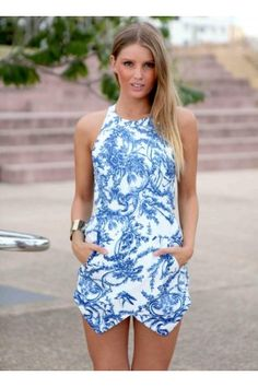 Blue Print Open Back High Neck Playsuit with Asymmetrical He