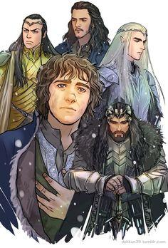 Elrond, Bard, Thranduil, Bilbo, and Thorin. - The Hobbit or There and Back Again. Legolas, Thranduil, Hobbit Art, O Hobbit, Bilbo Baggins, Thorin Oakenshield, Lotr, X Men, Polaris Marvel