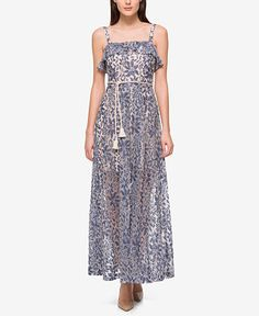 Jessica Simpson Denim Illusion Lace Maxi Dress - Dresses - Women - Macy's