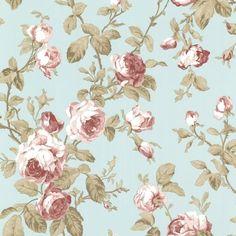 Smita-Claremont-Vinyltapete-68703-rot-rosa-mint-braun-Tapete-Landhaus-Rosen-Deko