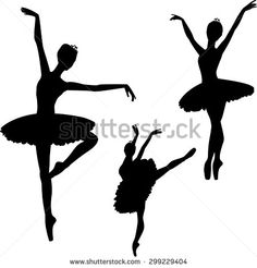 Ballerinas silhouettes, isolated on white - stock vector