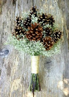 A simple yet beautiful bouquet of pine cones and baby's breath for a winter wedding.