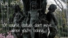 Rule 453: Of course statues don't move… when you're looking at them… [Image capped by Jenna from Angels Take Manhattan]