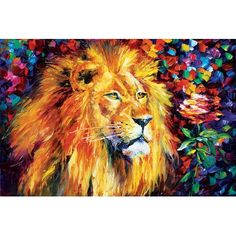 """Andover Mills Lion'  Painting Print on Wrapped Canvas Size: 12"""" H x 18"""" W x 1.5"""" D"""