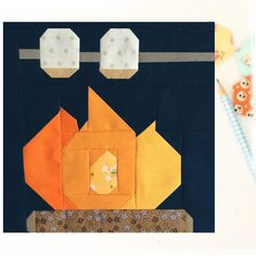 Campfire and Roasted Marshmallow Camping PDF Quilt Block Pattern - Includes instructions for 6 inch and 12 inch Finished Blocks Paper Piecing Patterns, Quilt Block Patterns, Pattern Blocks, Quilt Blocks, Rug Patterns, House Quilt Block, Peyote Patterns, Applique Patterns, Sewing Patterns