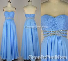 Strapless Sweetheart with Beading Chiffon Prom Dresses Bridesmaid Dress, Wedding Party Dresses, Evening Gown, Evening Dresses