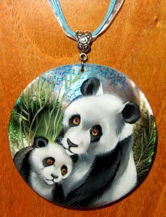 Black Lip Shell pendant hand painted PANDA & CUB signed Gorbachova UNIQUE GIFT | eBay