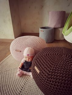 very nice light pink Pouf for baby room - Footstool Pouf - Bean Bag Chairs- Crochet Floor Cushions - Kids Furniture - Home Decor - Ottoman