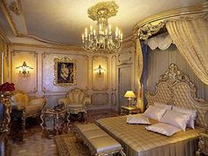 Top Most Elegant Beds and Bedrooms in the World: Gold Victorian Style Bedroom