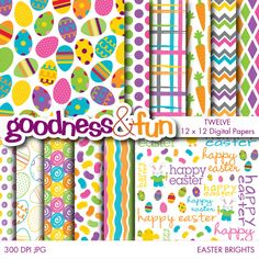 Celebrate spring with the Easter Brights Papers set. Bold and bright colors for Easter and all year round. Great for scrapbooking, invitations and much much more!