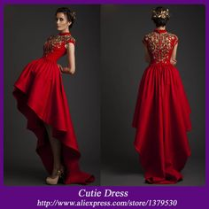 SUN350 Krikor Jabotian New Design Red High Neck Cap Sleeves High Low Embroidery Satin Evening Dress Gown Free Shipping