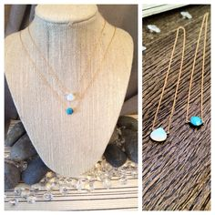 A personal favorite from my Etsy shop https://www.etsy.com/listing/185147937/opal-and-turquoise-dainty-gold-necklace