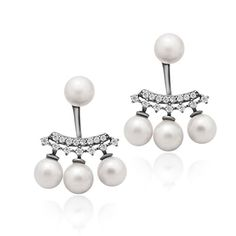 925 Sterling Silver Earrings Ear Jacket Pearl Earrings Pearl Ball Earrings Classic Cultured Freshwater Pearl Stud Earrings 6mm Four White Round Pearl Studs Bridal Earrings -- Learn more by visiting the image link.(This is an Amazon affiliate link and I receive a commission for the sales)