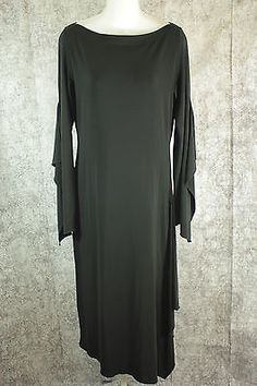 Isabel De Pedro Mr Cat Black Asymetrical Dress with Long Sleeves Womens Size 10