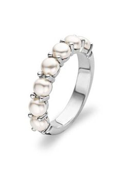pearl wedding band very different classy i like it - Pearl Wedding Ring Sets