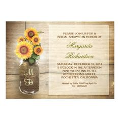 bridal shower invitations with sunflowers in the mason jar on the old rustic wood background