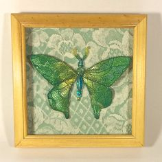 Beaded Butterfly Green and Gold Shadowbox by AuroraRosealis, $30.00