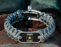 This is the Officially Licensed Regular Survival Bracelet of the Retired U.S. Army™ in ACU camo and foliage green! Perfect for showing your support for our troops! Made from super strong military spec paracord and an authentic military dog tag. $41.90
