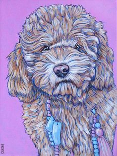 """Pet Portrait Art on Canvas 9""""x12"""" Custom Acrylic Painting of One Dog, Cat, or Other Animal. Nola the Australian Mini Labradoodle sample from Pet Portraits by Bethany on Etsy and PetPortraitsbyBethany.com"""