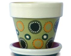 Hand Painted Flower Pot Black & White by MicheleCordaroDesign