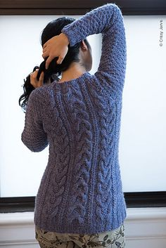 The Sleeves and Body of this pullover are worked separately from the bottom up to the underarm where they are joined and worked together for the Yoke. The Yoke is decreased along 4 raglan lines from the underarm to the neck. Stitches for the neckband are picked up and the underarm stitches are joined using a three-needle bind-off to finish.