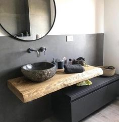 Home&Decor. Suspended bathroom cabinet 120 cm - Wooden shelf for sink and black drawer Bathroom Design Luxury, Modern Bathroom, Small Bathroom, Bathroom Black, Bathrooms, Design Wc, House Design, Modern Design, Design Ideas