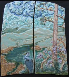 Heron's View Mural Tile