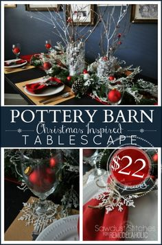 Make a pottery Barn inspired Tablescape with  purchases from the  Dollar Tree. #sawdust2stitches on  #remodelaholic