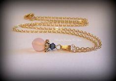 Blue and Pink Gold Necklace Wedding Jewelry by beadedjewelryforyou, $25.99