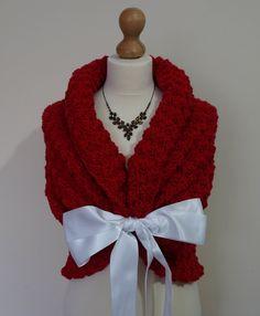Romantic Wedding Shawl, Bridal Capelet, Rustic Wedding Wrap, Spring Wedding Cape, Bridal Cover Up, Red Shawl, Crochet Shawl, Red Wedding by HandmadeLaremi on Etsy