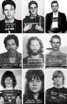 9 CLASSIC CELEBRITYROCK STARS MUG SHOTS - FROM FRANK SINATRA - JOHNNY CASH - MICK JAGGER - ELVIS - CURT COBAIN - OTHERS