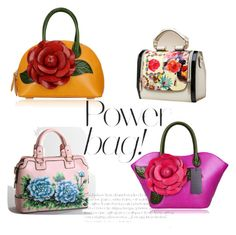 """Flower Power, that is! A few of our favorite flower embellished handbags...past and present!  thehandbagmaven.com"" by thehandbagmaven ❤ liked on Polyvore"