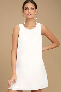 Strut your stuff in the Lulus Sassy Sweetheart White Shift Dress! This stunning woven dress starts with a rounded neckline, and carries into a sleeveless, shift bodice with darting. Back keyhole with top button closure. White Dresses For Sale, Cute White Dress, White Shift Dresses, Little White Dresses, Dresses For Teens, Summer Dresses, Women's Dresses, Dresses Online, Formal Dresses