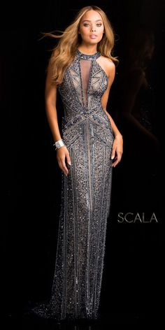 Plunging Illusion Open Back Sequin Prom Dress by Scala #edressme