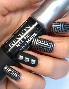 "Revlon Nail Art Shiny Matte Nail Enamel in ""Leather & Lace"" & ""Tortoise Shell"" Cross Nail Art, Cross Nails, Shiny Nails, Silver Nails, Metallic Nails, Pretty Nail Designs, Nail Art Designs, Revlon, Matte Nail Art"