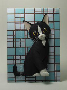 Tuxedo  Kitten CAT Paper Sculpture 5x7 by Matthew Ross