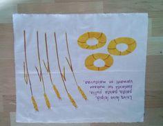 Leivinliina, 2 lk Kankaanpainantaa tussilla ja kangasväreillä sabloonan avulla, Viljan varret piirrettiin vielä kankaanpainoon tarkoitetuilla liiduilla. Lopuksi työ silitetään hyvin niin värit kiinnittyvät. Reunat on vain revitty, ei ommeltu.