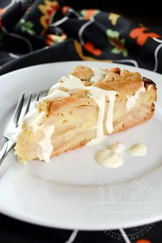 Swedish Apple Cake with Vanilla Sauce - sort of a cake wrapped in a pie-pastry crust, this delicious scratch-based dessert beautifully showcases the flavour of apples, spices, vanilla, and almonds.