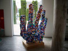 Sculpture from bottle caps.