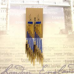 Handmade Blue and Gold Spike Dangle Peyote Earrings by SeedDreams, $50.00