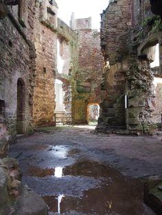 Inner ruins of gatehouse of Raglan Castle, Raglan. Wales.