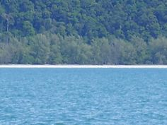 Thailand, Ko Tarutao  A view from the boat you can just make out our hammock frame ( I miss that beach)