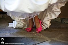 Hot pink high heels for a wedding.  Cute idea, but I'd probably go with blue heels.  I don't know.