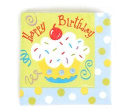 "Birthday Blue Cupcake Printed Plates (10"" x 10"") - 36 Units"