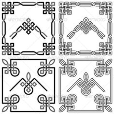Celtic Knots Corners Set by infografx Collection of decorative Celtic knot corners patterns on white background. Vector graphic.
