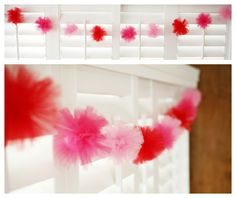 tulle pom pom garland - fun for valentines day - something to do with that shocking pink tulle in my stash. Luckily, I have some light pink and some white, too. Just need red. Valentines Day Hearts, Valentine Day Love, Valentine Day Crafts, Holiday Crafts, Holiday Fun, Festive, Tulle Garland, Tulle Poms, Pom Pom Garland