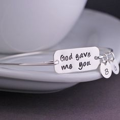 God Gave me You bangle bracelet in sterling silver.  Personalized Christmas gift for mom with the kids initials!